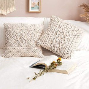 ⬇️ 2pcs Macrame Cushion Woven Boho Pillow Case